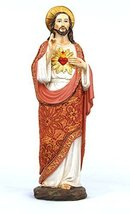 Sacred Heart of Jesus Figurine with Fabric Clothing 12 inch H - $29.69