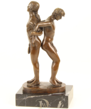 Antique Home Decor Bronze Sculpture shows Naked Men Lovers, signed * Fre... - $249.00