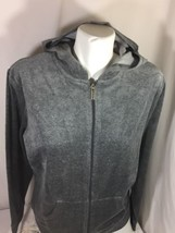 Metrostyle Women Wolf Grey Hoodie Zip Up  Think ,Soft  terry Fabric Size ST - $16.83