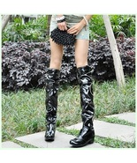 Black Wet Look Patent Leather Zip Up Low Chunk Heel Knee High Motorcycle... - $139.95