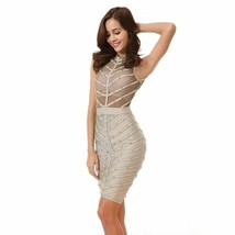 Summer Dresses Mesh Stud Sleeveless Knee Length Sexy Party Bodycons Band... - $44.97