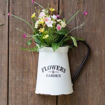 Flower Garden Metal Wall Planter Water Pitcher Design Distressed White F... - ₨2,858.07 INR
