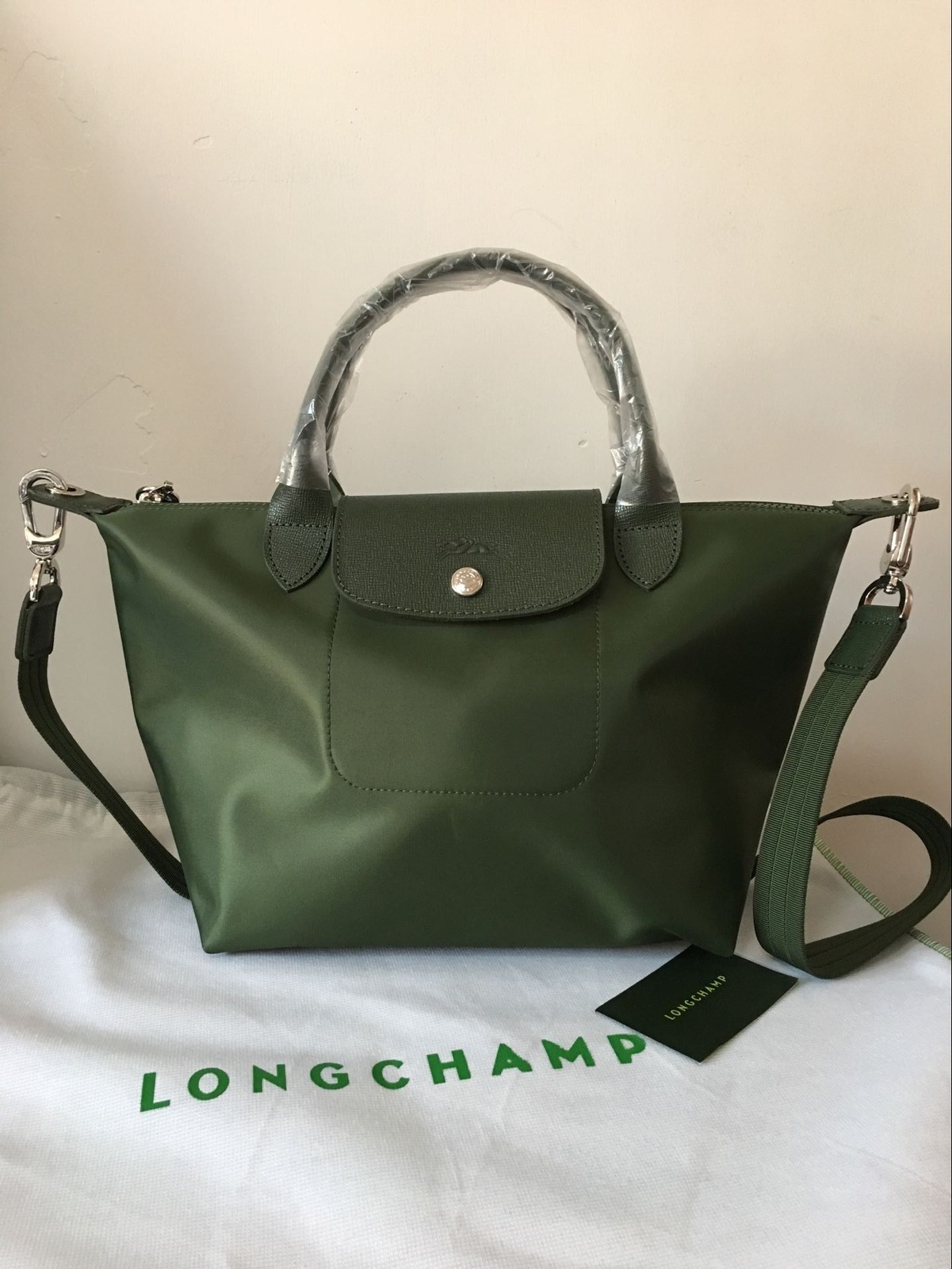 6b8aaf55c526 Qq 20170227185130. Qq 20170227185130. Previous. France Made Longchamp Le  Pliage Neo Small Handbag Moss Green 1512578749