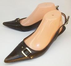 Michael Kors Womens Shoes US9M Brown Leather Buckle Slingback Work Casua... - $55.71