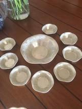 1950's Tin Nut Dish Set Bowl W/ 8 Individuals Peanuts Pustachios Pretzel... - $12.07
