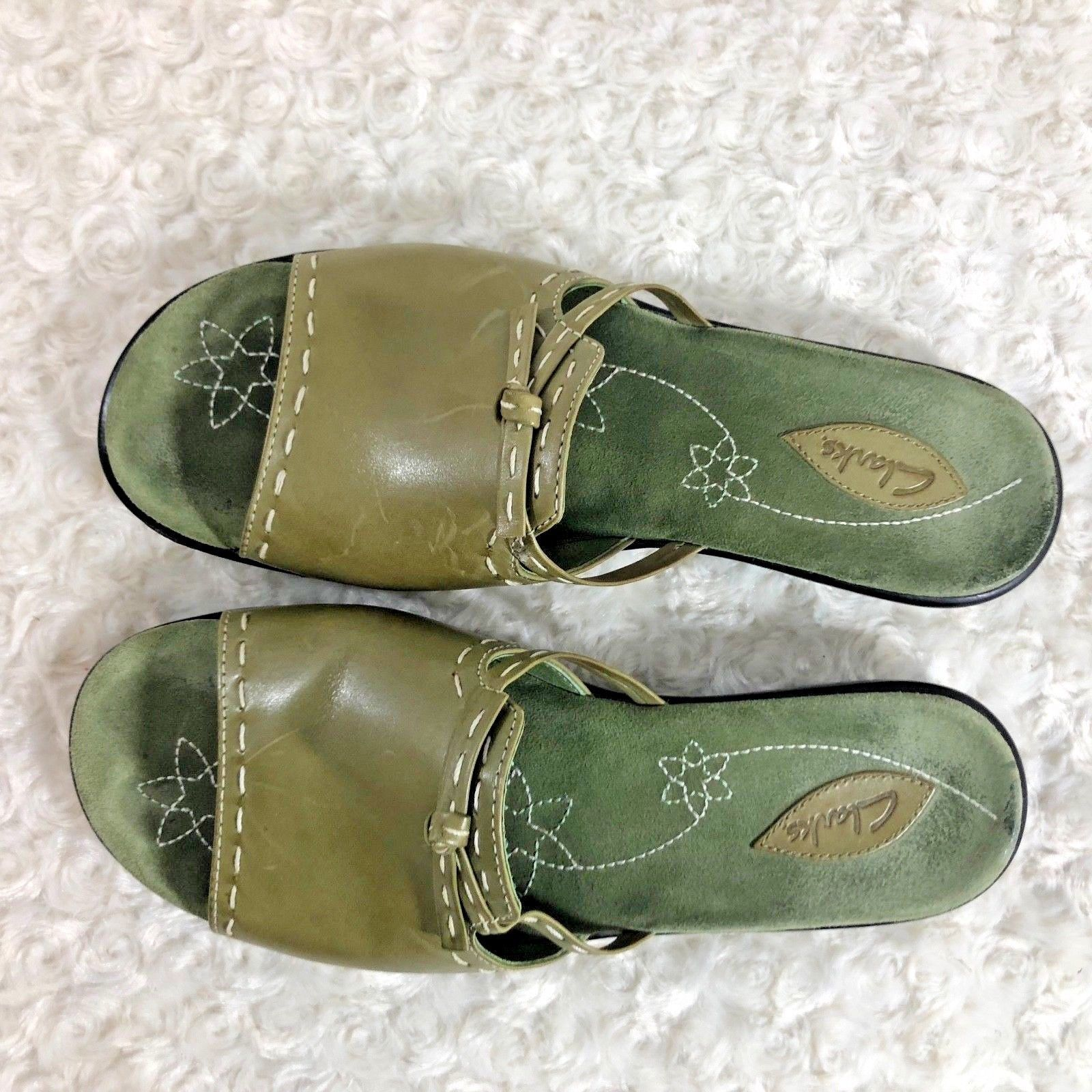 clarks Womens Sz 9 M Green Leather Slide Slip On Flat Shoes