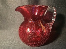 Cranberry Crackle Glass Pitcher Vase Applied Handle Flared Top  - $17.00
