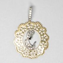 Pendentif Médaille, or Jaune Blanc 750 18k, Vierge Marie, Fleur, avec Cadre image 2