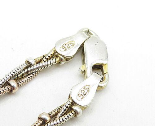 925 Sterling Silver - Vintage Petite Braided Style Chain Bracelet - B4958