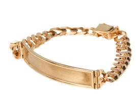 Personalized ID Bar Cuban Curb Link Bracelet - 14k Yellow Solid Gold - B1004 - $1,276.80