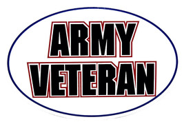 Wholesale Lot of 6 Army Veteran Oval White Decal Bumper Sticker - $13.88