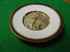 """Beautiful THE ART OF CHOKIN  """"Floral"""" PLATE 24kt Gold Trim...No Stand...... - $11.55"""
