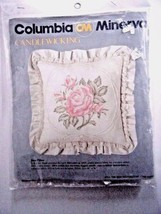 Columbia Minerva Candlewicking Rose Pillow Kit 14 x14 1983 Made In USA - $17.77