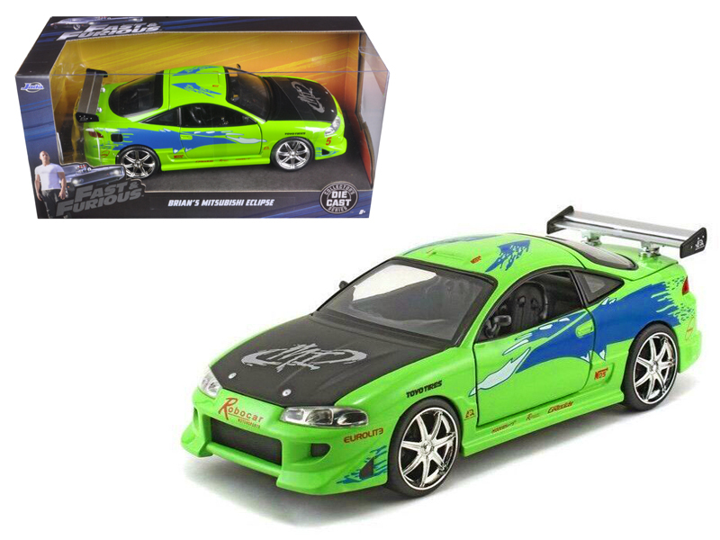 """Brian\'s Mitsubishi Eclipse Green \""""The Fast & The Furious\"""" (2001) Movie 1/24 D"""