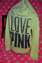Victoria's Secret PINK VS LOVE Bling Hoodie Sweatshirt Yellow Gray Ombre... - $99.99