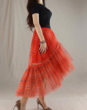 Women High Waist Wrap Tulle Skirts Red Plaid Wrap Skirt Tulle Party Formal Skirt image 11