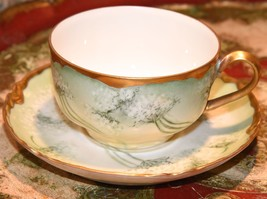 Haviland Limoges France Tea Cup Saucer Queen Anne's Lace Green Gold Gilt Antique - $79.99
