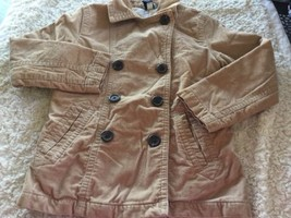 Gap Kids Girls Light Brown Buttons Corduroy Long Sleeve Coat White Lined 7-8 - $16.93