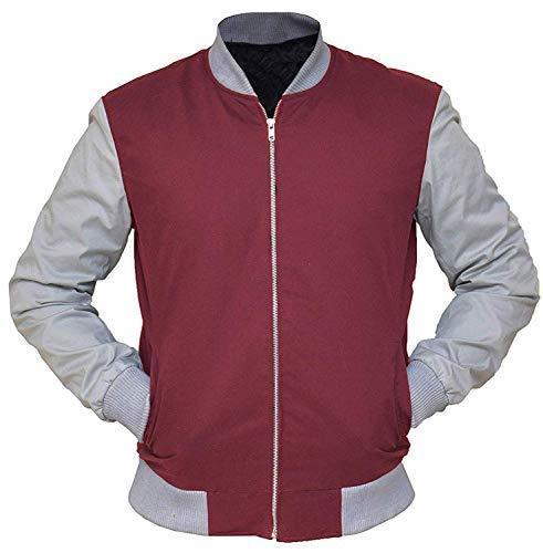 Mens Baby Driver Jacket Ansel Elgort Baseball Varsity Maroon Bomber Jacket - $42.00