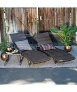 Chaise Lounge Set Table 3 Pc Outdoor Patiio Pooside Wicker Furniture Fol... - £310.64 GBP