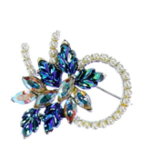 "Blue Glass Vintage 2"" Well Made Stones Swirl Brooch - $15.95"