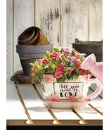 Teacup Planter, Flowerpot Decorated with Flowers and Pink Flamingos - $24.60
