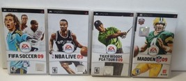 Sony PSP Video Game Lot - Madden 09, Tiger Woods 09, NBA Live 09, FIFA S... - $28.66