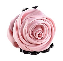 Beautiful Satin Artificial Rose Flower Hair Claw Clips Ponytail Jaw Clips, Pink