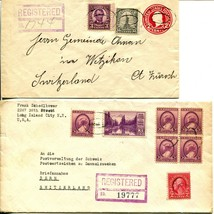 20c REGISTERED USA to SWITZERLAND Envelope Cover Collection Stamps Postage - $19.80
