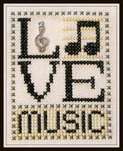Love Music Love Bits cross stitch chart Hinzeit - $6.00