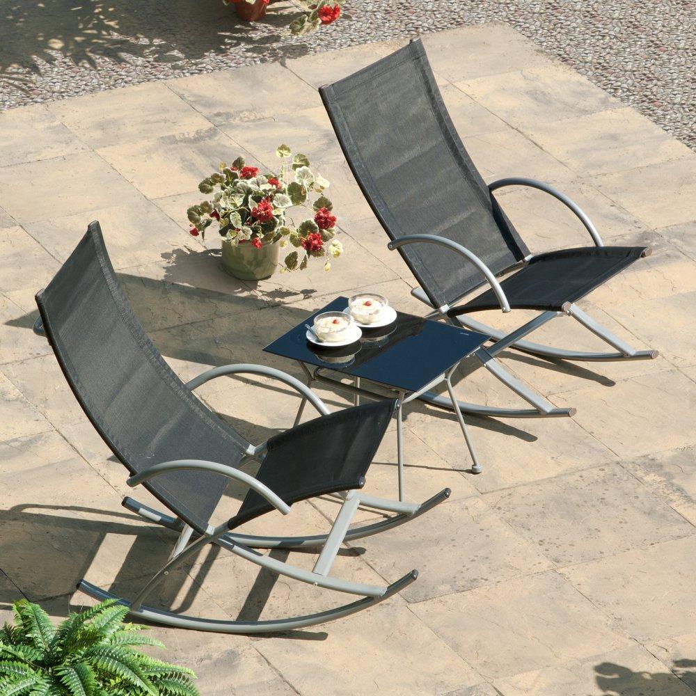 Outdoor Patio Rocker Set Side Table Rocking Chair 3 Pcs Poolside Yard Furniture