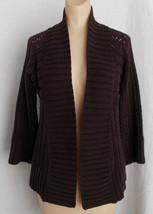 Loft Open Cardigan Sweater Eggplant Loose Knit Women Ann Taylor XS - $9.89