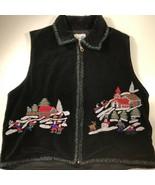 Paul Harris Womens Vest Black Zip Up Velvet Embroidered Winter Scene Cot... - $11.87