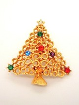 Vintage Brooch JJ Rhinestone Multi color Holiday Christmas Tree Pin Xmas - $19.78