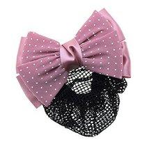 Women Hair Snood Net Barrette Bun Cover Hairnet Bowknot Decor Hair Clip ... - $17.41