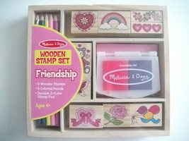 Melissa & Doug Wooden Friendship Stamp Set w/Stamps Colored Pencils & St... - $12.99