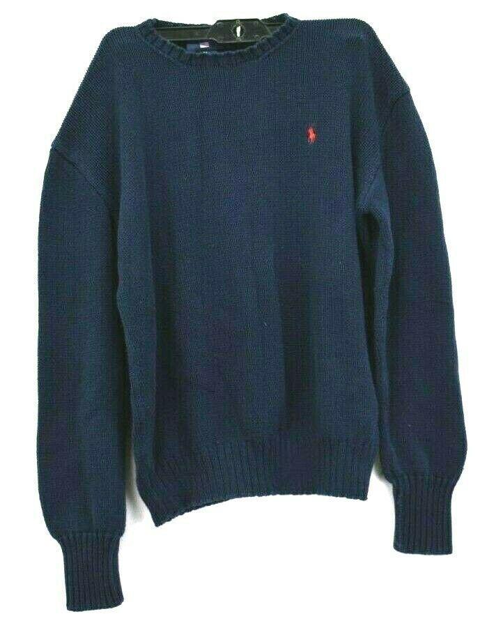 d9dd7fa24 Ralph Lauren Polo Sport Men s M Heavyweight Long Sleeve Knit Sweater Navy  Red -  23.49