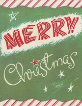 Vintage Christmas Card Candy Cane Stripes Made By White and Wyckoff - $8.90