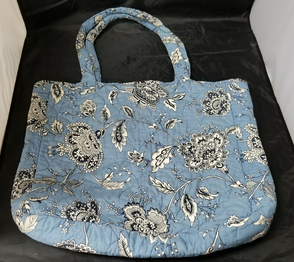 Blue Large Quilted Tote Bag Purse Handbag Beach Bag Diaper Bag