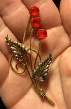 Art Deco I. Michelson 1/20 12k GF Ruby Red Rhinestone Flower Brooch Pin 1930s - $32.99