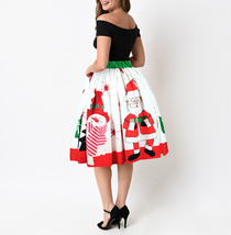 Women A-line Flare Santa Print Skirt Christmas Knee Length Swing Skirt- White