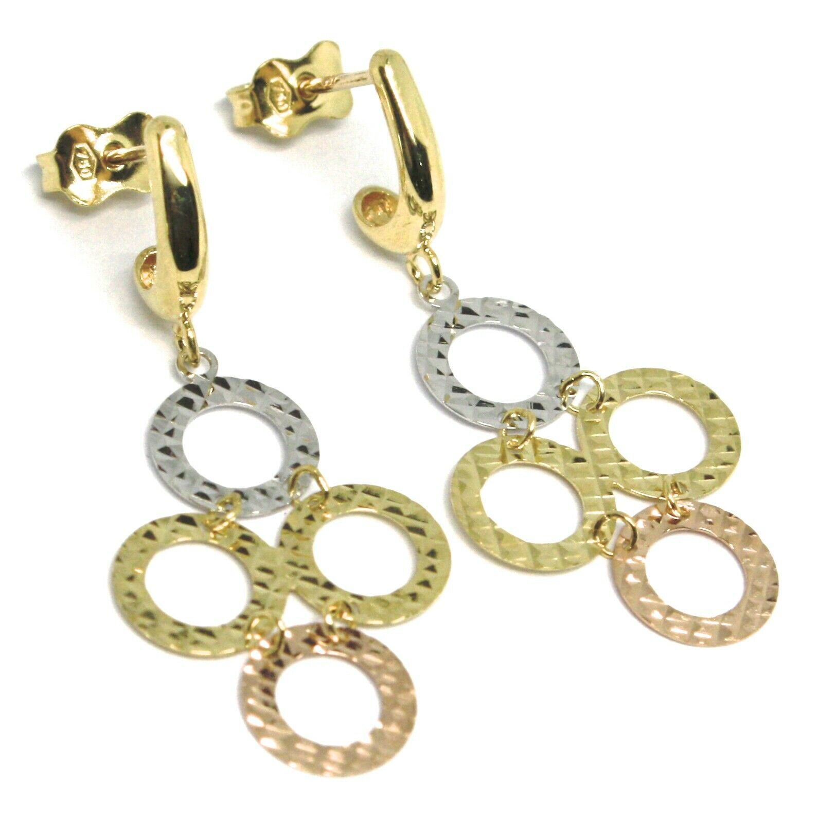 18K YELLOW WHITE ROSE GOLD PENDANT EARRINGS, FINELY WORKED FLAT CIRCLES
