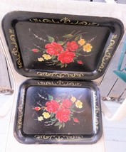 "2 Large Vintage TV Serving Trays Metal Mid Century 18""x13 Roses - $29.69"