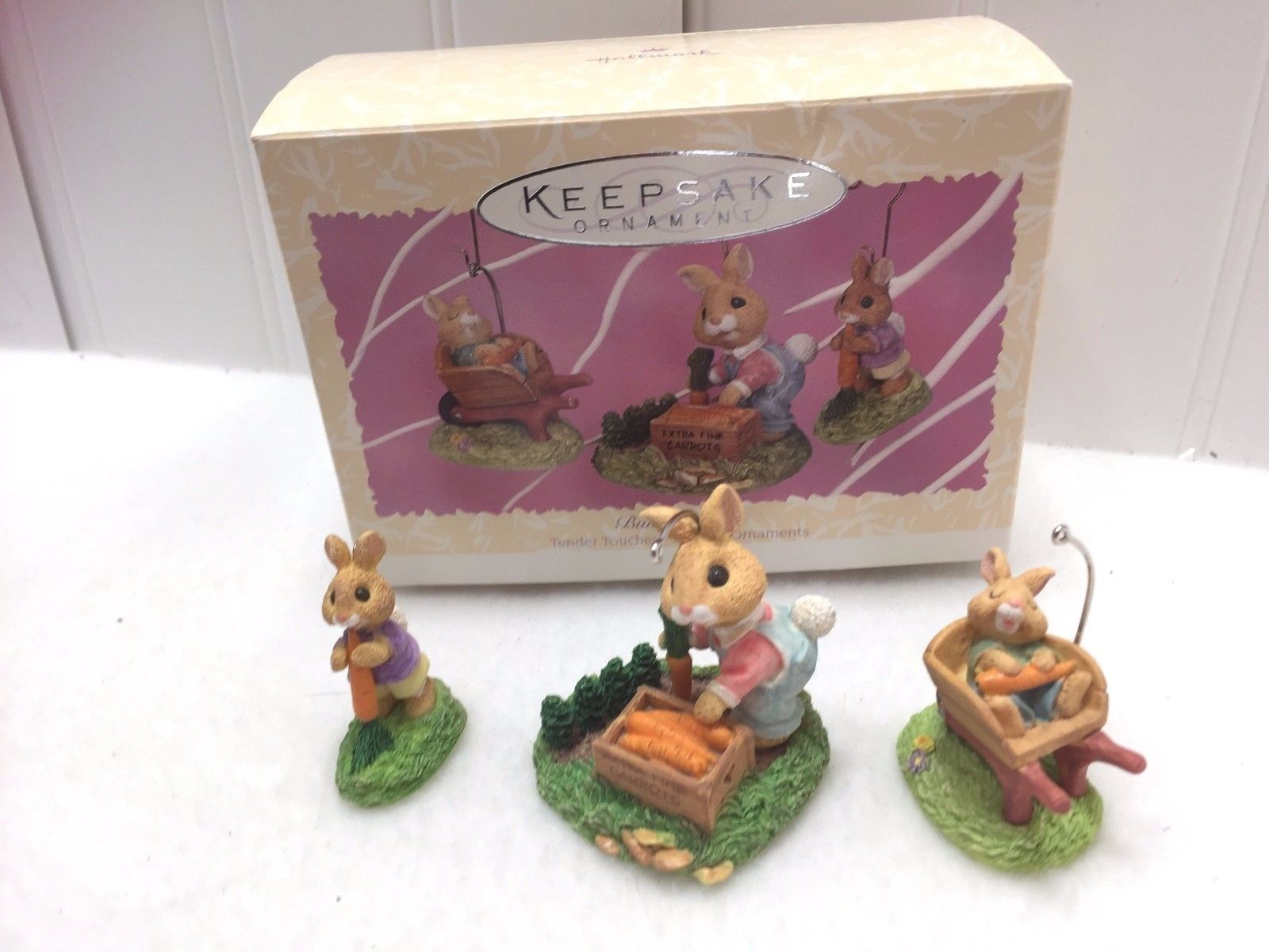 Primary image for Vintage Hallmark Keepsake Ornament 1997 Spring Bumper Crop Bunnies 22486