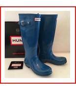 Hunter Tall Teal Blue Gloss Boot 5 - $125.00