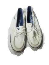 KEDS Baybird White Canvas BOAT SHOE Deck Flat Sneaker Navy Stripe Women ... - $18.69