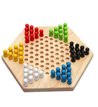 Board Game Traditional Hexagon Wooden Chinese Checkers Set Game Family F... - $21.29