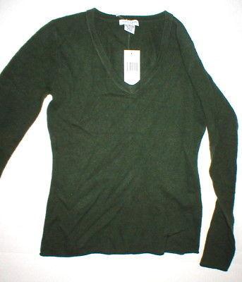NWT New Womens Sweater Extra Soft Gabriella Rossi Cashmere S Dark Green 2 ply