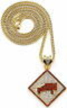 New Pendant Necklace with Rhinestones Trukfit and 36 Inch Franco Style Chain  - $34.00