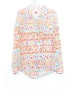 Juniors button front long sleeve multi color shirt - $6.00
